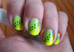 Neon yellow and green polka dots by ola-sakura7
