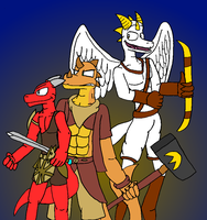 Three Proud Warriors by ZarelTheWindDragon