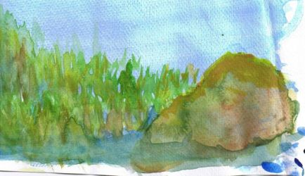 Detail of the Watercolor lake by Flarona