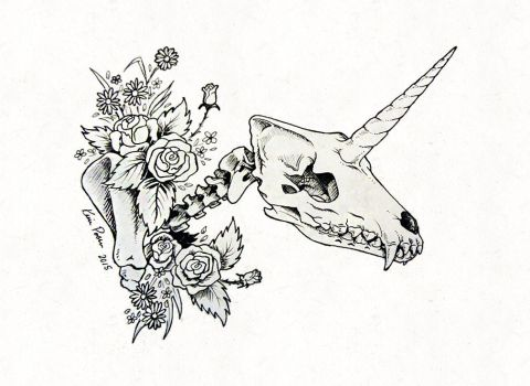 Dead wolficorn uncoloured by ImaginaryKarin