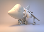 Cartoon Harrier Jump Jet for 3d Printing by pancreasboy