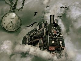 Surreal train in the sky by HateMind