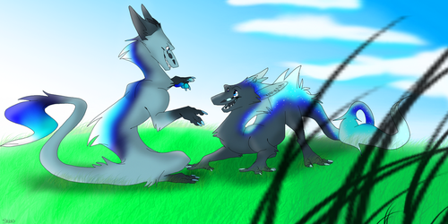 Comm- The floofiest battle ever by ShiroTheDragon123