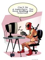 Deadpool Trolling the Internet by Hominids