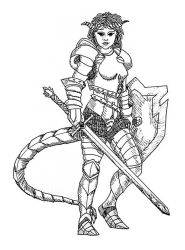Tiefling Paladin of Tempus by Quixoticia