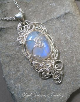 Oval Blue Fire Moonstone and Sterling Silver by blackcurrantjewelry