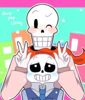 Sans and Papyrus - drop pop candy by nichandesu