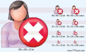 Delete patient-woman Icon by medical-icon-set