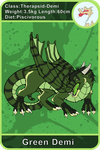 Arecacen Creature Cards: Green Demi by Chikara-Redwing