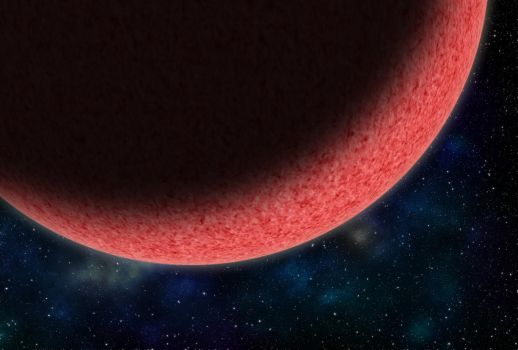 Big Pink Planet with nebulae by colfrankland