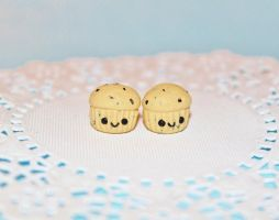 Miniature Chocolate Chip Cupcake Studs by CharmStop