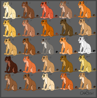 Lioness adoptables - Batch one by OnyxShiShi