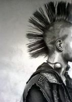 Punk- huge pencil drawing by Louisa911