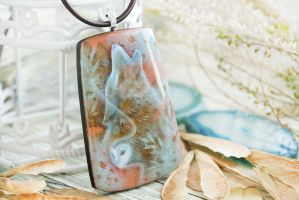 The song of first frost  hand painted wood pendan by LunarFerns