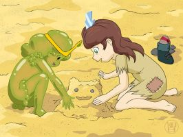 Playing in Sand by Kairu-Hakubi