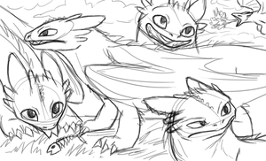 Toothless sketches by Wolf-Goddess13