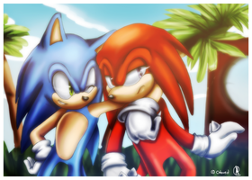 .:Sonic and Knuckles Collab:. by Rubisha