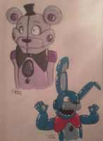 Funtime Freddy and BonBon doodle by SideshowFreddy