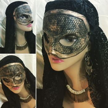 Gold Honeycomb Leather Mask by aGrimmDesign