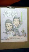Star Wars newlyweds caricature by artbylukeski