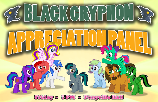BlackGryph0n Appreciation Panel poster - EQLA 2017 by AleximusPrime