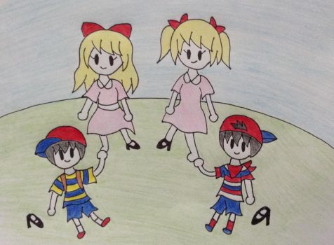 Request: Ness Ninten rubbing Ana and Paula's feet by StarshineLove186