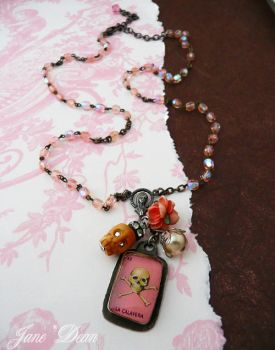 Calavera rosary necklace by janedean