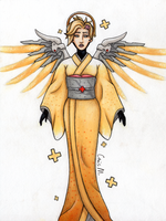 Mercy from Overwatch in Japanese style by ChrisMoonArt