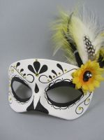 Deluxe Yellow Day of the Dead leather mask by maskedzone