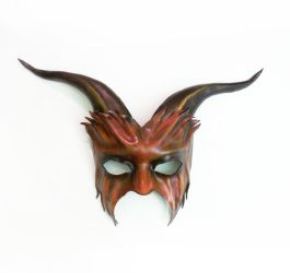 Goat Leather Mask By Teonova red and black by teonova