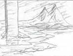 Two Mountains - pencil sketch by Spacepretzel