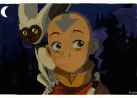 Aang and Momo by Hecatia10