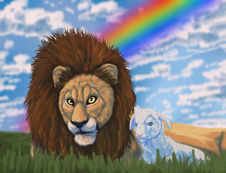Lion and Lamb by VorpalBeasta