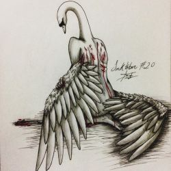 Inktober #20 - Deep/Swan/Excessive Gashes-Bruises by tirmesaito
