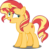 Bashful Sunset Shimmer Vector by icantunloveyou