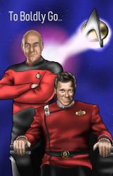 Star Trek - Captains Kirk and Picard by DavidCrabtreeArt