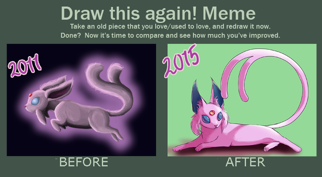 Before And After Espeon by tarmie