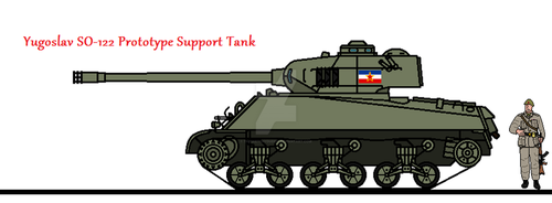 Yugoslav SO-122 Prototype Support Tank by thesketchydude13