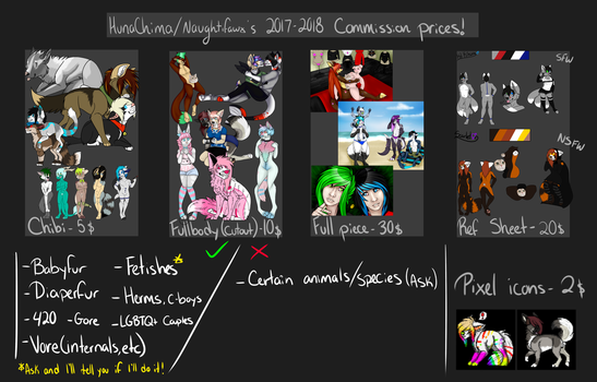 2017 - 2018 COMISSION PRICES! (Comissions OPEN) by HunaChima