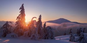 Sunrise in winter Carpathians by Sergey-Ryzhkov