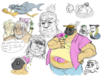 Roadhog Sketch Dump by Thea0605