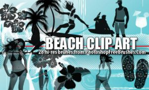 Beach Clip Art Brushes by fiftyfivepixels