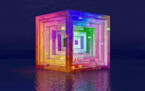 Floating Cube 07 1680x1050 by jleoc