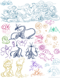 Drawpile Doodles - Creature Compilation by pettamapossum