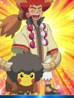 Ash and Pikachu as Alder and Bouffalant