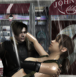 Leon and Quiet in the rain outside Johnny's Diner by foreshadow10