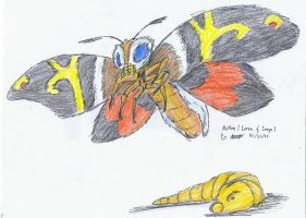 Mothra. Imago and Larva by hewhowalksdeath