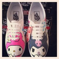 Hello Kitty My Melody and Kuromi Vans by VeryBadThing