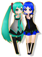 LowPoly Miku and Aiko by SuminoChan