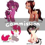 4 single ponies by aosion